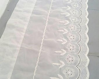 "Large White Sheer Embroidered Lace Curtain. White sheer window curtain. Long White window topper. Sheer window topper. 60 x 13""."