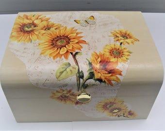 Decorative wood box, large chest, 15 x 12 x 5 inches, sunflower design, unique storage, beaded, gold lift knob