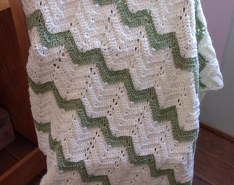 Olive and cream chevron baby afghan