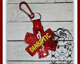 MeDICAL DIABETIC Alert Key FOB Key Ring Snap Tab ~ In the Hoop ~ Downloadable DiGiTaL Machine Embroidery Design by Carrie