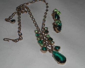 Julianna Unmarked Necklace Clip Earrings Vintage Jewellery Set Peridot Emerald Green 1950s