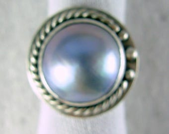 Mabe pearl in Icey irridescent blue  grey * ARTIST'S  CHOICE *  comfort band 925 sterling silver ring Chelle' Rawlsky OOAK  size 6.5+