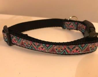 Bohemian Medallion Pink Teal Black Small 1/2 inch Dog Collar