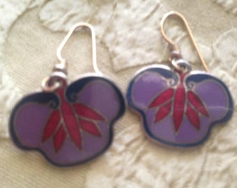 Laurel Burch Lavender Red Flower FANS Cloisonne Earrings French Earwires Vintage Jewelry 1980s Purple
