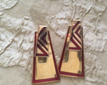 Laurel Burch Kinetic Energy Shields Cloisonne Post Earrings Vintage Jewelry 1980s Gold Filled Navy Red Gold