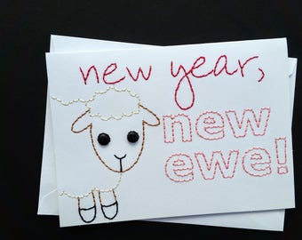new year hand-embroidered card
