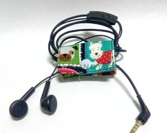 Cord organizer for Earphones, usb wire, kawaii cute gift ideas, snap button holder id170802, cellphone travel organizer, jog accessory