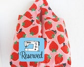 Reusable Grocery Bag   Strawberry Fabric Farmers Market Machine Washable Shopping Tote Bag