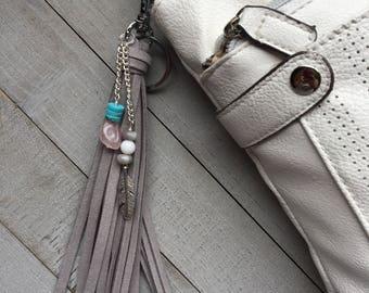 Large Tassel Keychain, Boho Bag Charm, Gift for Her, Long Tassel, Purse Charm, Boho Keychain, Gift Under 25, Southwest Style, Hippie Gift
