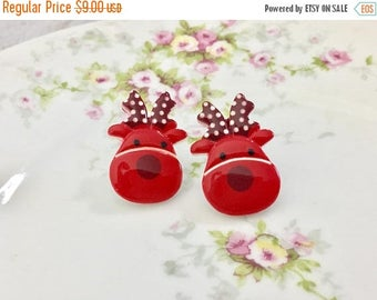 Christmas in July SALE. Large Novelty Red Reindeers with Polka Dot Antlers Christmas Holiday Stud Earrings, Surgical Steel Posts