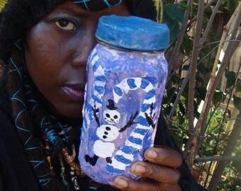 Snowman Magick Dance Candy Cane Stash /Altar  Jar Papier Mache