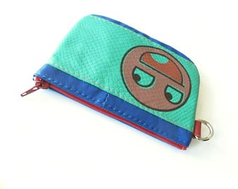 Awesome Face Emoji Zip Wallet in Bright Turquoise Reclaimed and Vintage Leather