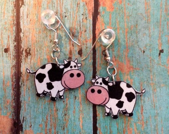Handcrafted Plastic Moo Cow Bovine Earrings
