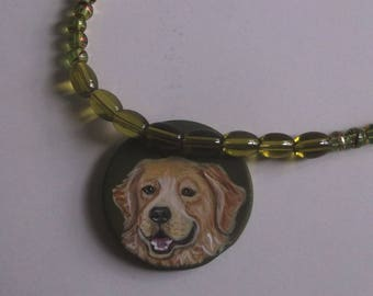 Golden Retriever Dog Beaded Necklace Hand Painted Ceramic Pendant OOAK