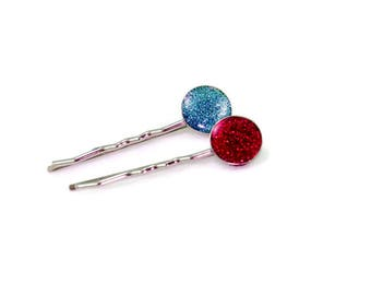 Handmade Blue And Red Hair Pin Barratte