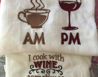 Wine flour sack towels set coffee wine  birthday Gift