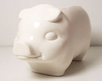 Ceramic 60s Pig Planter, Vintage Design, White Planter, Succulent Planter, Animal Planter, Flower Pot, Cactus Planter, Modern Planter