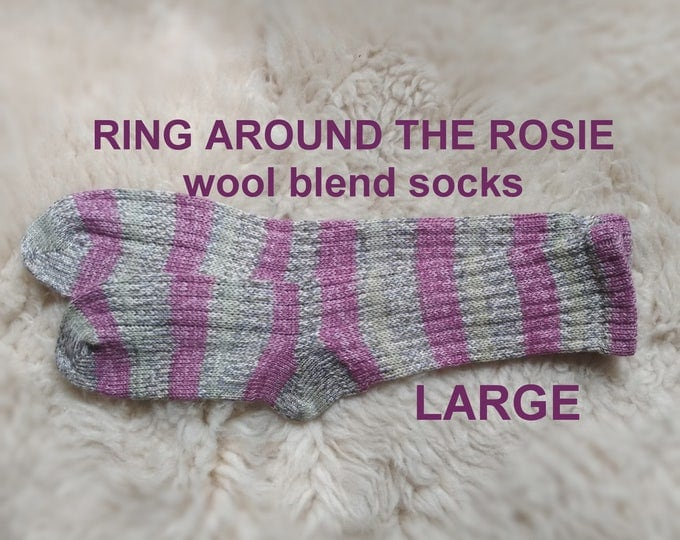 Ring Around The Rosie Socks --- washable wool blend --- LARGE