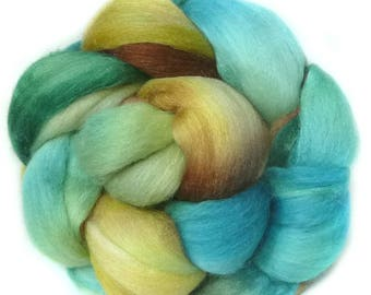 MERINO SILK BAMBOo roving top handdyed spinning fibre 4.7 oz