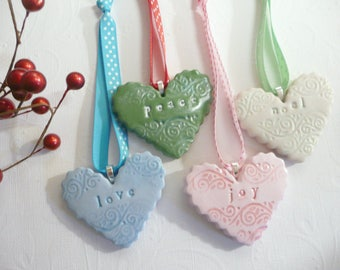 Heart Christmas Ornament, Word Ornament, Peace Noel Love Joy Christmas Tree Decoration Holiday Decor Hanging Heart Polymer Clay teacher gift
