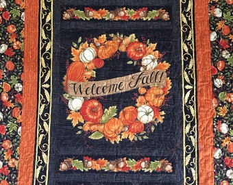 Welcome Fall Quilted Wall Hanging, Fall Quilt, Autumn Home Decor, Leaves and Pumpkins, Wreath Print