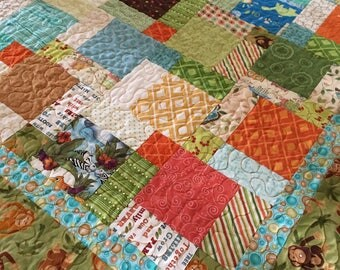 Baby Quilt, Monkey Quilt, orange blue and brown, scrap quilt, Patchwork Quilt, toddler quilt, Baby Blanket, Cotton Quilt, One of a Kind