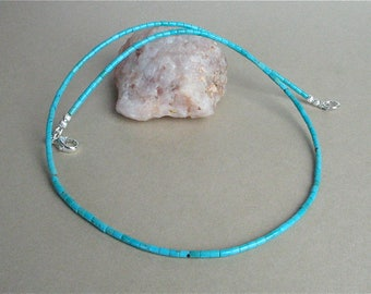 "Blue Kingman Turquoise Heishi Necklace - Tiny 2mm Heishi - 19 1/2"" Necklace - Classic Southwest Style Turquoise Necklace for Men and Women"