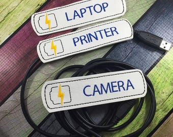 Back to school - USB Cable label - cord organizer - set of two - charger cord  Sleeve - cable  - for USB cable  or USB Device Connectors