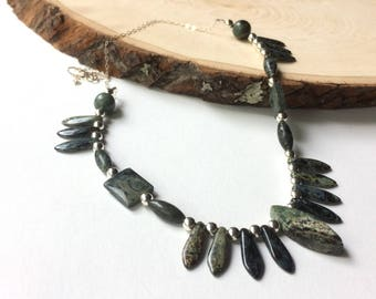 Kambaba Jasper Bib Necklace, Green Jasper Beaded Necklace, Forest Green and Silver, Woodland Gemstone Jewelry, One of a Kind