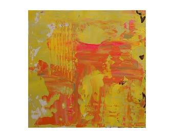 ORIGINAL Abstract Painting, Orangeade 2, small textured acrylic on canvas mounted on wood panel, impasto, Giftable, orange abstract art