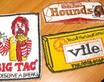 Wacky Patches, Iron On Patch, Vintage, Sew on Patch, Brand Name Spoof, Vile Soap, Hounds Candy Bar -- Pick One