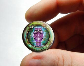 Retro Glass Owl Cabochon for Jewelry and Pendant Making - Design 19