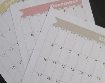 Bullet Journal Printable Calendar - January 2018 through December 2018 - for Moleskine XL