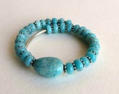 Blue Amazonite and Sterling Silver Memory Wire Bracelet, Smokeylady54