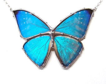 Real Blue Morpho Butterfly Necklace - Large Statement Necklace - Real Butterfly Jewelry