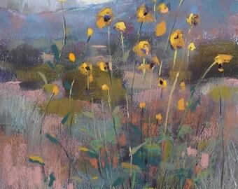 Southwest Landscape Desert Sunflowers  Original Pastel Painting 12x9