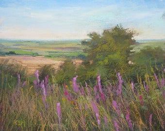 IRELAND Landscape Roadside wildflowers  Original Pastel Painting Karen Margulis 8x10