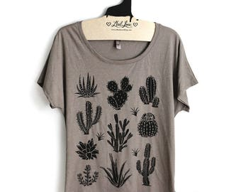 Large-  Tan Dolman Tee with Cactus Screen Print