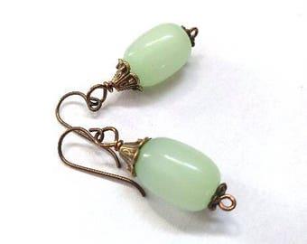 Celadon Green Milky Glass Bead Earrings