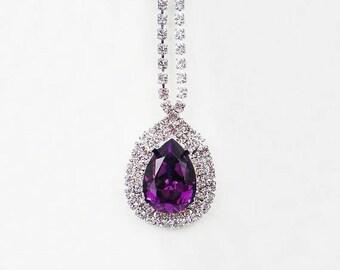 SUMMER SALE 3 Amethyst Rhinestone Necklaces Swarovski Violet Purple Wedding Jewelry Bridesmaid Jewelry MADE To Order