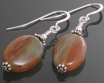 CLEARANCE. Orange and Green Agate Earrings. Sterling Silver Ear Wires. Genuine Agate. Autumn Colors. f12e014