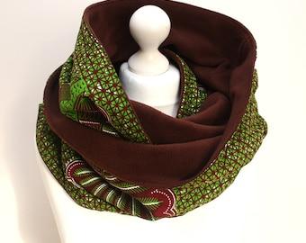 Green Ankara snood scarf, Infinity scarf, Circle scarf, Hooded scarf, Ankara Scarf, Afrocentric scarf, Fleece Scarf, African print scarf
