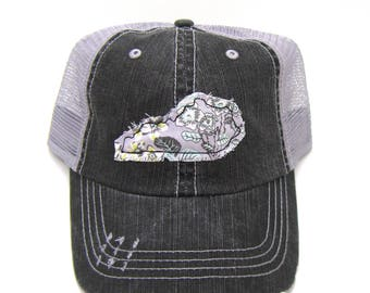 Kentucky Hat - Black and Gray Distressed Trucker Hat - Gray Floral Applique - All States Available