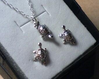 ON SALE Sterling Silver Turtle Jewelry Set, .925 Silver Turtle Jewelry, Sterling Silver Charm Jewelry Set, .925 Silver Turtle Necklace & Ear