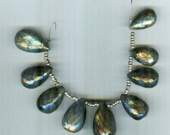 Absolutely Stunning Graduated Labradorite Faceted Teardrop Pendant Beads -20mm  AA Quality