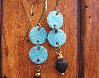 """Blue Patina Brass Discs with Black Glass Hearts Earrings - 1.5"""" in length"""