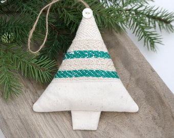 Lavender Sachet Christmas Tree Ornament, Green Striped Grain Sack, Rustic Christmas Decor