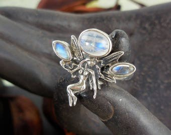 Moonstone sterling silver fairy ring -  size 8.5