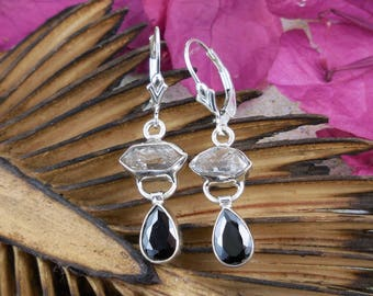 Onyx & herkimer diamond (quartz) sterling silver earrings