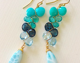 Oceanside Woven Earrings with Kyanite, Apatite, White Topaz, Turquoise and Larimar